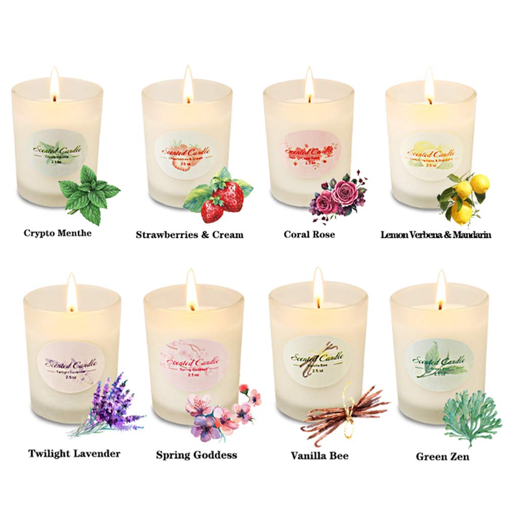 Scented Candles Aromatherapy Christmas Gifts for Women Glass Jar Candle Set Luxury Natural Soy Wax Fragrance Essential Oils Xmas Stress Relief Relaxation Birthday Gift