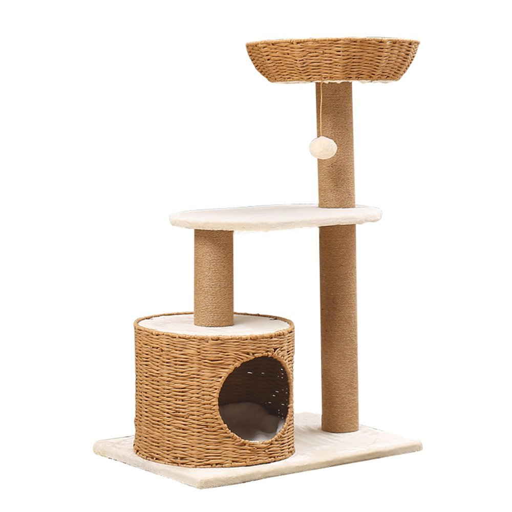 L&XY Cat Tree Apartment Furniture Rattan Cat Bed Kitten Activity Tower Multi-Platform Cat Scratch Tree Steady Durable Safety Green Play Scratch Pet Toy