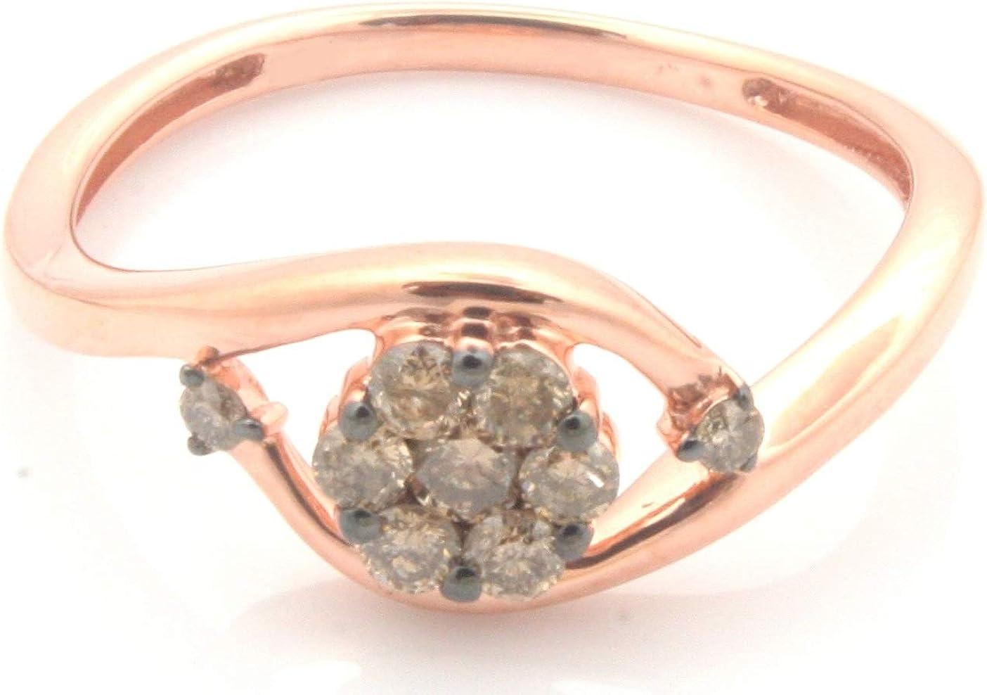 Prism Jewel 0.29Ct Round Natural Brown Diamond Cluster Ring