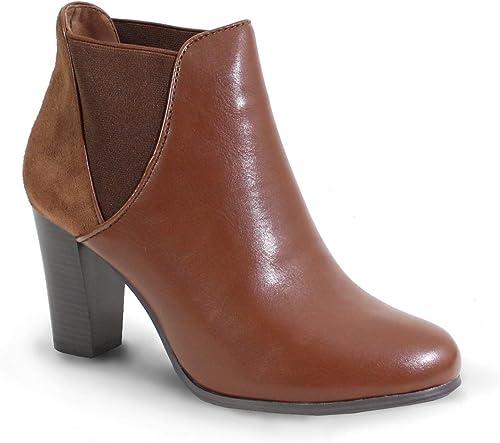 Cuir Shoes By Femme Style Talon Bottine Haut à zpMGqUVS