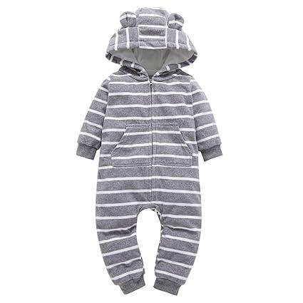 ae217d271cf4 Amazon.com  Gotd Baby Girl Boy Clothes Winter Fleece Thicker Stripe ...