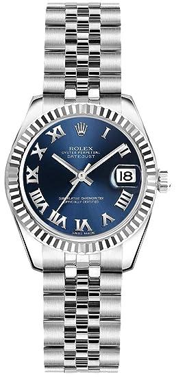 Rolex Reloj De Pulsera De Mujer Esfera de color azul con números romanos marcas de hora