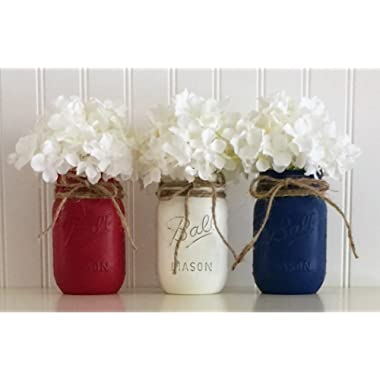 Mason jar set - 3 piece, Red, White, and Blue, 4th Of July Centerpiece