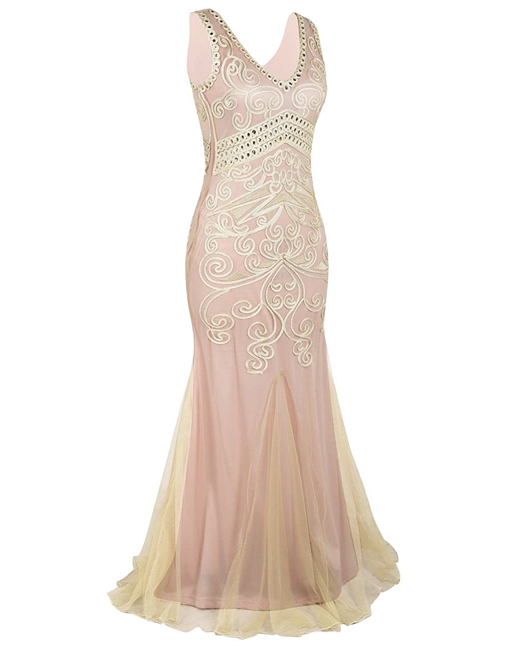 PrettyGuide Women 1920s Prom Gown Long Mermaid Formal Evening Dress: Amazon.co.uk: Clothing