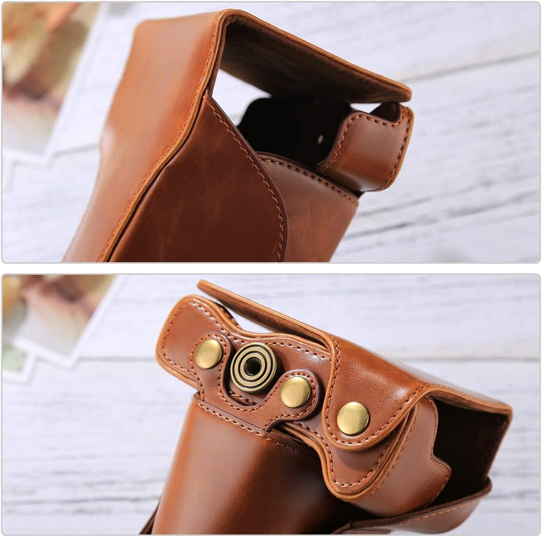 MEETBM ZIMO,Full Body Camera PU Leather Case Bag with Strap for Canon EOS M6 Color : Brown Black 18-150mm Lens