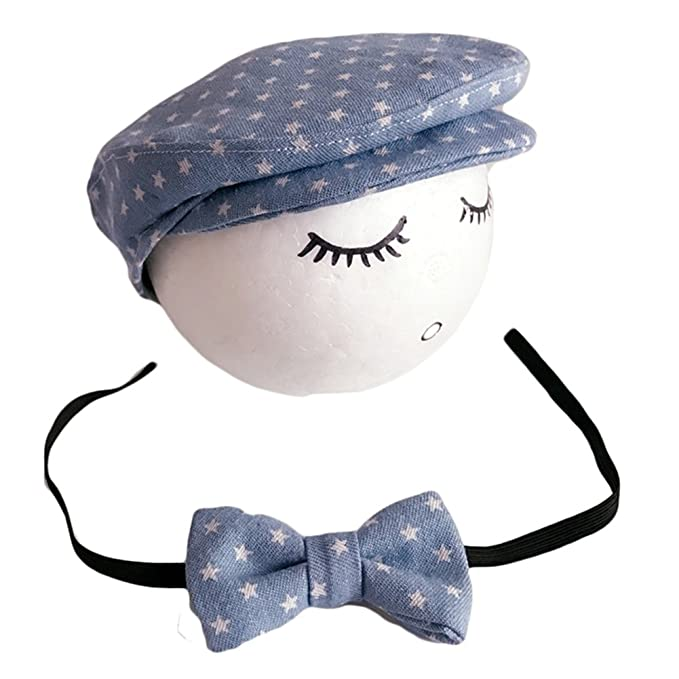 Vemonllas Recién Nacido Rropa Sombrero de Bebé Niña Boina Niño Fotografia  Beisbol Gorras Corbata Conjunto Foto 517eb783f92
