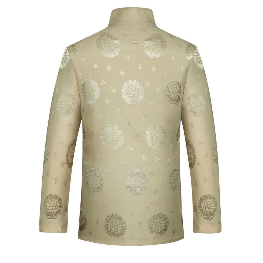 Airuiby Tuta Tang Uomini Abbigliamento Tradizionale Cinese Suits Hanfu Cotone Camicia a Maniche Lunghe Cappotto Uomo Top e Pantaloni