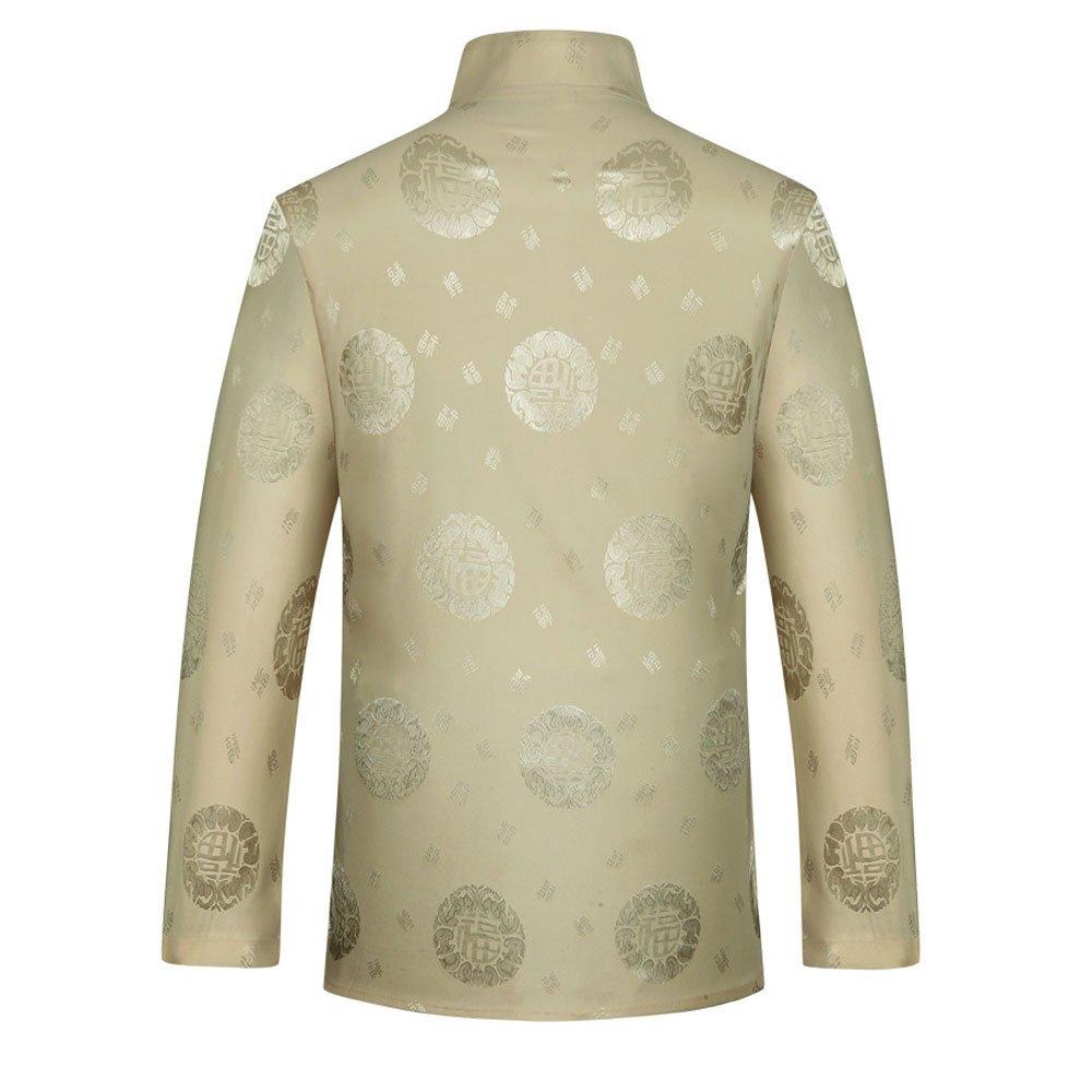 Tang Suit Men Traditional Chinese Clothing Suits Hanfu Cotton Short sleeve shirt coat Mens Tops and pants (XL, Beige) by Airuisky (Image #4)