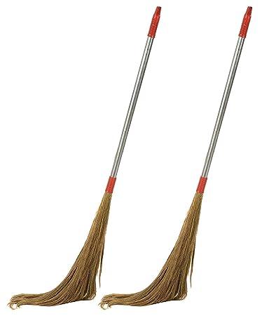 UVA Long Steel Handle Eco Friendly Soft Grass Floor Broom Stick - Pack of 2 (1 Broom Weight 500gm)