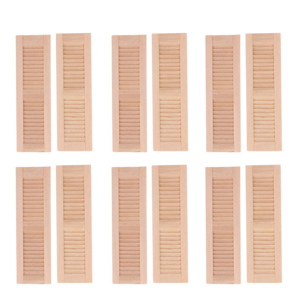 Fityle 6 Pairs Handmade 1/12 Dollhouse Furniture Wooden Shutters Blind Window DIY Accessories Hands-On Toy