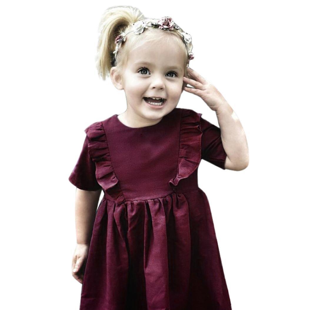 UOMOGO® Vestito Cotone Manica Corta Floreale Abito Principessa Casual Vestiti Bambina - Colore puro