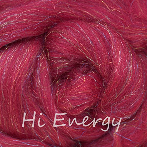 SPARKLE, GLITZ and GLAM: Super Soft Merino Jewel Tones with Colorful Metallic Highlights. Festive Fiber for Spinning, Felting and Blending. Hi Energy