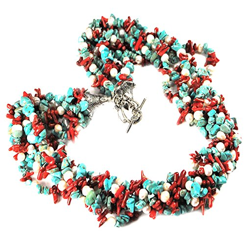 Ny6design 009 Multi Strands Turquoise, Coral & Cultured Freshwater Pearl Silver Tone Toggle Necklace 24