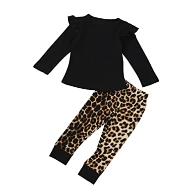 ropa bebe niña otoño invierno 2017 Switchali Infantil recien nacido Bebé Niña manga larga Camisetas moda blousa + leopardo Pantalones largos baratos (100 ...