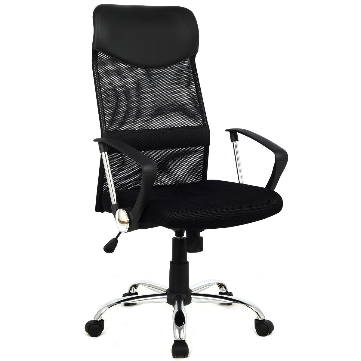 Modern Furniture 8074-BK High-Back Swivel Ergonomic Mesh/PVC Seat Desk Task Computer Swivel Lumbar Support Executive Office Chair with Seat Height Adjustment by mck (Image #1)
