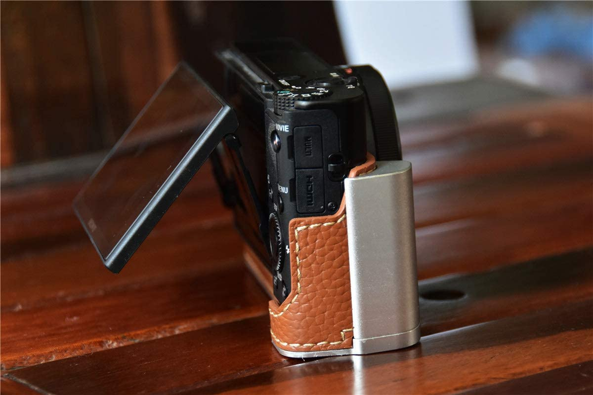 RX100 VII Case Black BolinUS Handmade Metal Genuine Real Leather Half Camera Case Bag Cover for Sony RX100 II III IV V VI VII Camera with Hand Strap