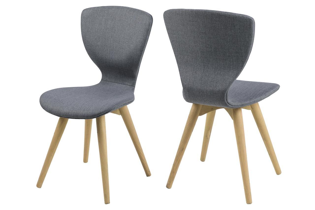 6 X Esszimmerstuhl Stoff Grau Mit Holzbeinen Eiche Sessel Stuhl