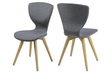 8 X Esszimmerstuhl Stoff Grau Mit Holzbeinen Eiche Sessel Stuhl Retro  Designstuhl Skandinavisches Design