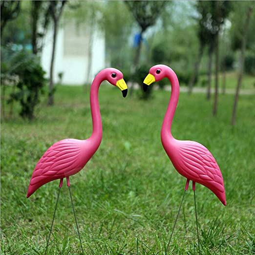 BDFA Flamenco De Plástico, Decoración De Estanque Figurín De Jardín Estanque De Jardín Decorado Pájaro De Jardín - Dos Pájaros: Amazon.es: Jardín