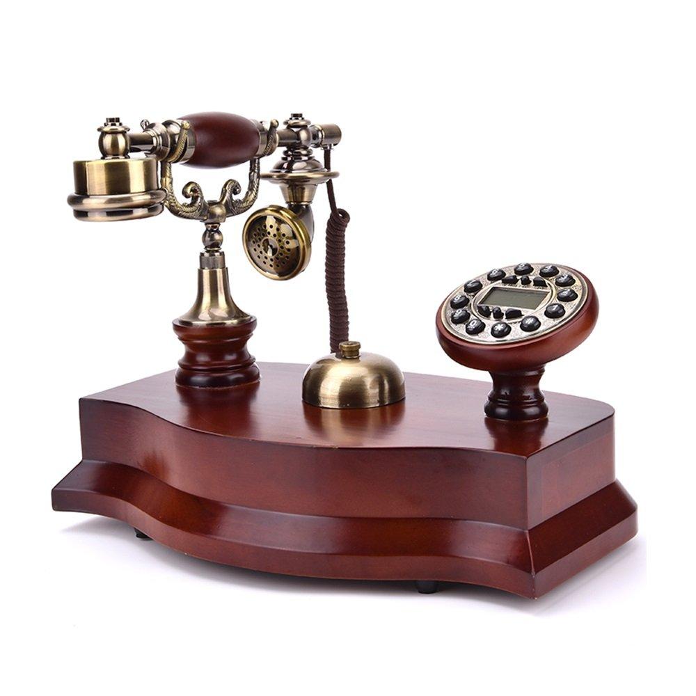 レトロ/アンティーク/ソリッドウッド/電話/キーダイヤル/発信者番号とその他の機能、木製と真鍮製の有線電話(サイズ:34 * 19 * 24.5cm)固定電話 (Color : A+ringtone*2) B07PD9N6XY