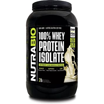 NutraBio 100% Whey Protein Isolate - 2 pounds Alpine Vanilla – NO Soy, NO