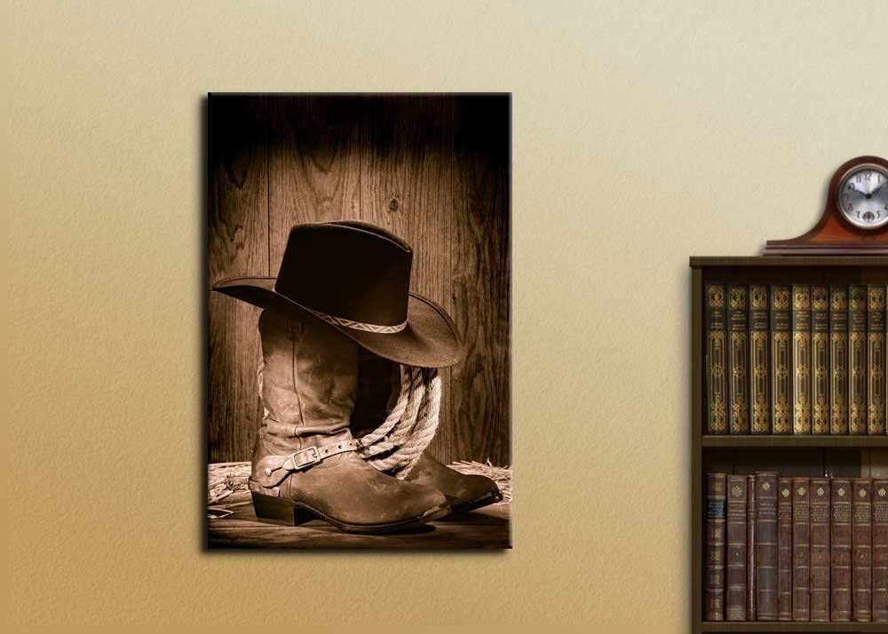 Cowboy Black Hat ATOP Western Boots - Canvas Art Wall Art - 16