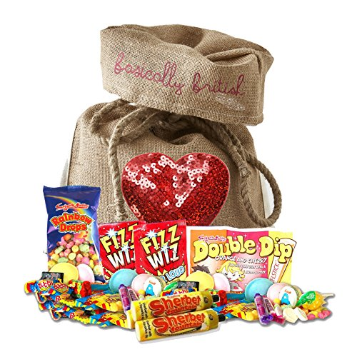 The Best of British Retro Candy Assortment in Basically British Burlap Bag LIMITED EDITION Sequin Heart Design with a gift tag (Sequins Tags)