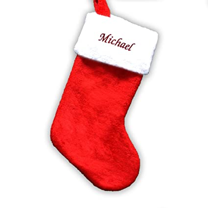 Giftsforyounow Embroidered Red Plush Personalized Christmas Stocking 19 Long
