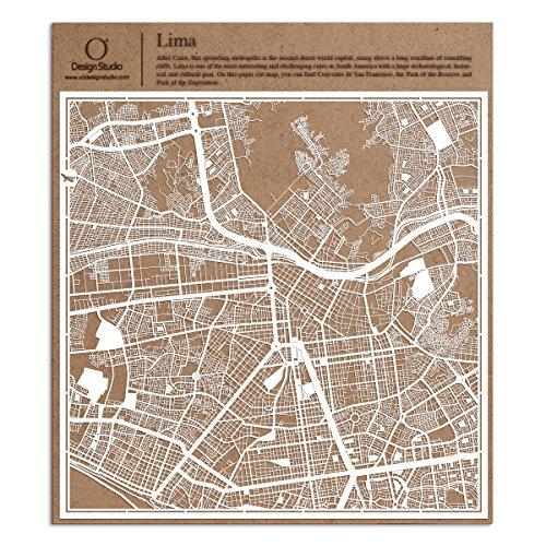 Lima Paper Cut Map by O3 Design Studio White 12x12 inches Paper - Plaza Las Americas Map
