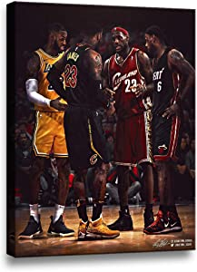 TWO J Framed Wall Art Lebron James Basketball Star Portrait Painting on Canvas Artwork Print Posters for Living Room Bedroom Modern Home Decor HD Picture Stretched Great Gifts [12''W x 18''H]