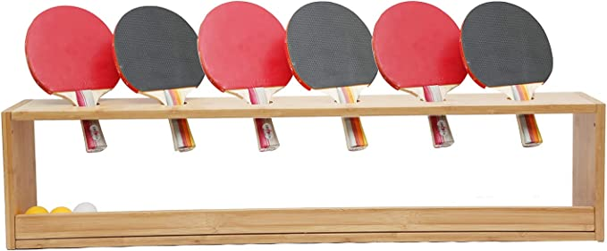 ORAF Ping Pong Paddle Display Rack Rustic Wood Wall-Mounted Style Hold 6 Table Tennis Rackets