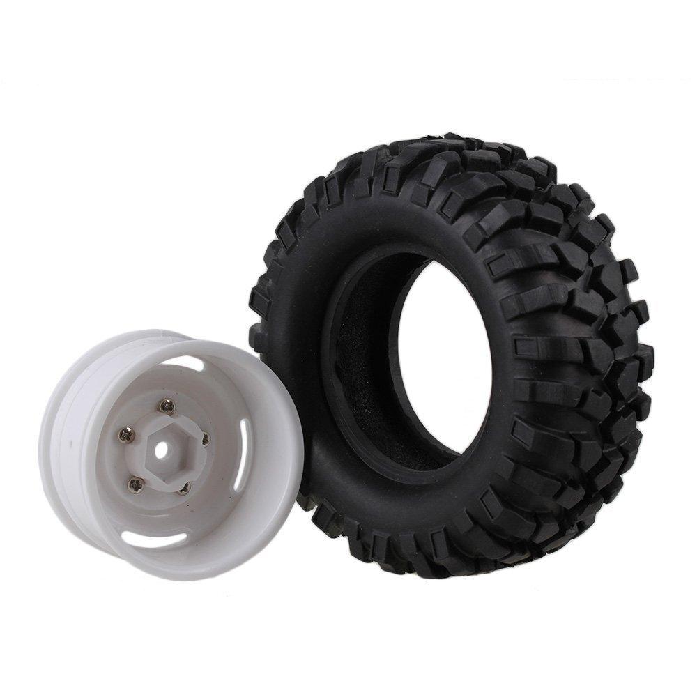 Youzone Los neumáticos de goma Negro Neumáticos y Llantas blancas de plástico con ruedas Tornillos para RC Racing 1:10 escalada en roca sobre orugas ...