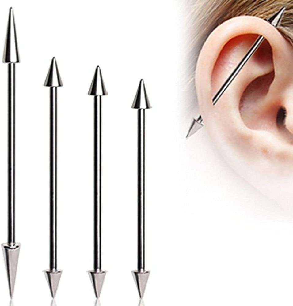 Covet Jewelry Notched Industrial Barbell 316L Surgical Steel