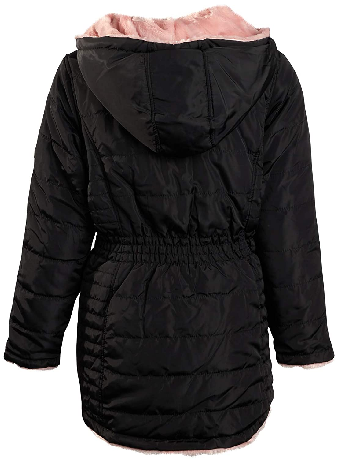 DKNY Girls Hooded Reversible Jacket Nylon Puffer or Sherpa Lined Coat