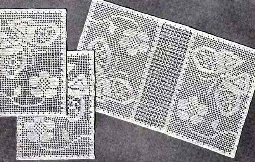 Butterflies in the Garden Filet Crochet Chair Set Pattern or Doilies Doily