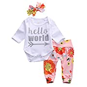 Baby Girls 3 Pieces Set Long Sleeve Bodysuit Floral Pants Hello World Outfits Cotton with Headband 3 Months
