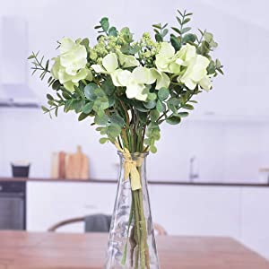 Anna Homey Decor Hydrangea/Eucalyptus Artificial Plants Silk Fake Flowers for DIY Spring Wreath Wall Decor Wedding Party Artificial Flower Decorations Living Room Kitchen Home Decor-Green, Pack of 2