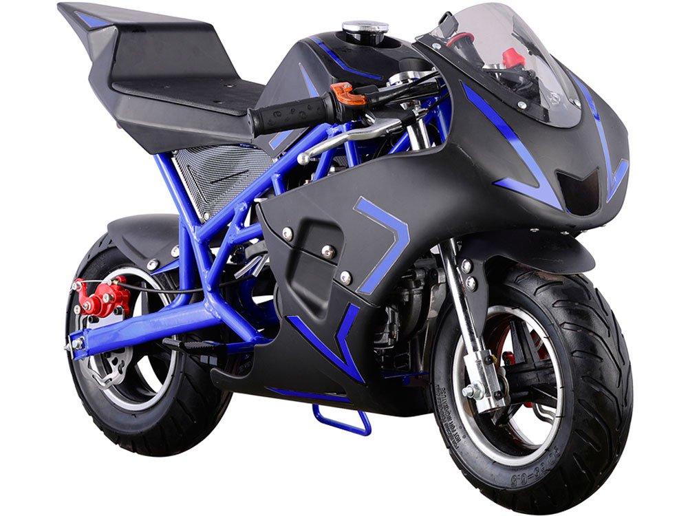 Amazon.com: MotoTec Cali 40cc Gas Pocket Bike Blue: Toys & Games