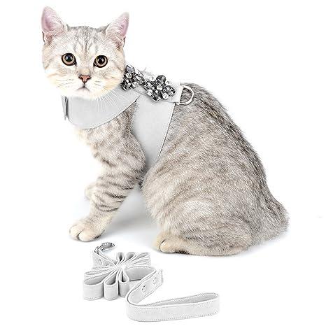 Smille_Lucky_store - Arnés de ante para perros y gatos pequeños, con estrás, ajustable,