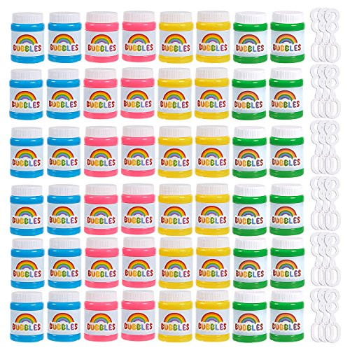 es Assorted Color Mini 1.69 Oz Bubble Bottles 48 Pack, Colorful Bubble Party Supplies for Kids Parties, Celebrations, Birthdays, 1.7 x 2.6 x 1.7 Inches (Blue Panda)
