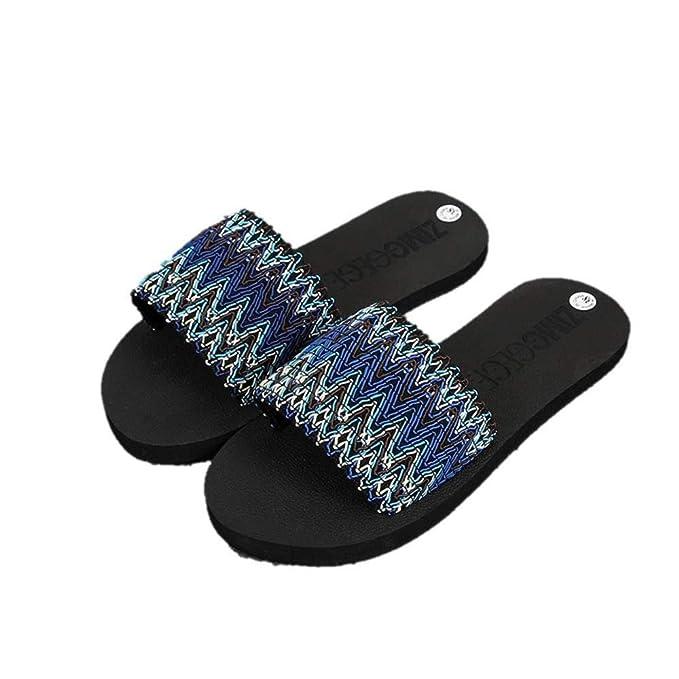 e9d2ada9 Amazon.com: Womens National Style Flat Striped Sliders ...