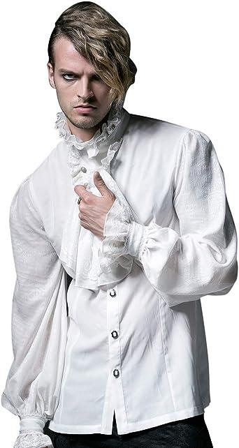 Camisa Medieval de Renacimiento para Hombre con Cuello de Solapa Tops de Manga Larga: Amazon.es: Ropa y accesorios