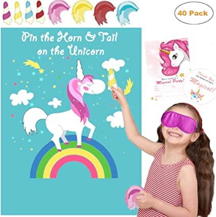 Unicorn Birthday Party Game Pin the horn on the Unicorn up to 16 players