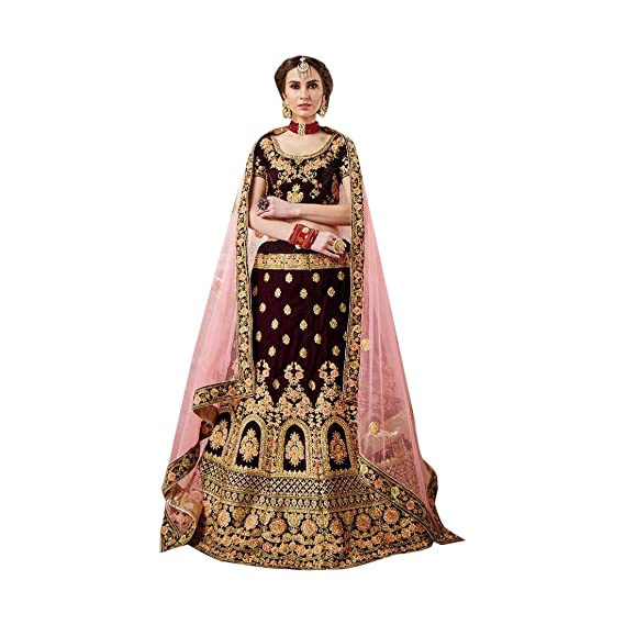 29298676c9 Velvet Embroidered Wine Bridal Lehenga Choli Net Heavy Border Dupatta 7726:  Amazon.in: Clothing & Accessories