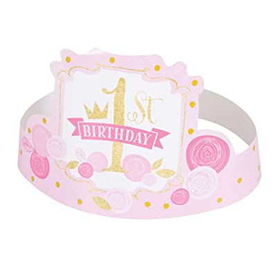Pink and Gold Girls 1st Birthday Party Hats, 6ct: Kitchen & Dining