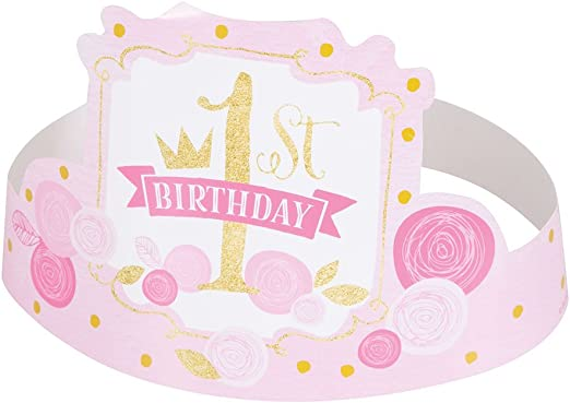 6ct Pink and Gold Girls 1st Birthday Party Hats