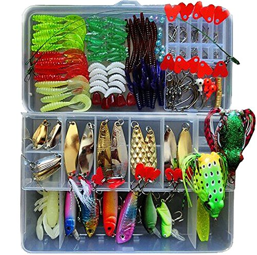194pcs Plastic Fishing Lures Set Laser Minnow Popper Pencil Crank Vib Bass Lures Crank Diving Baits with Carbon Steel Triple Hook Floating Lures Hard Bait Sinking Lure Bait with One Box Package