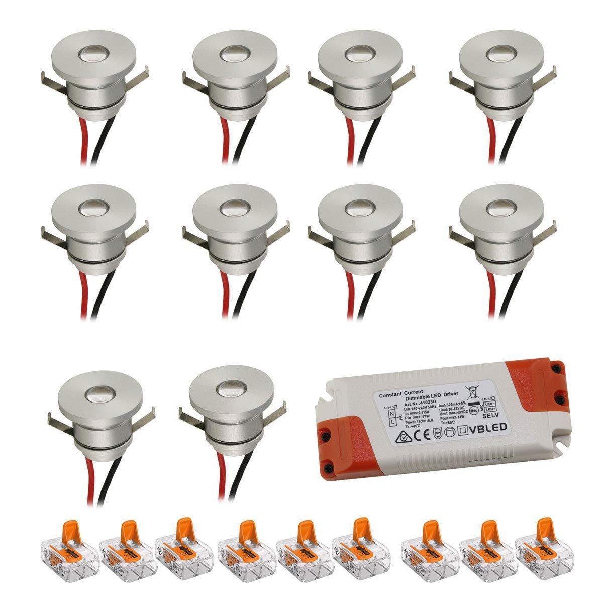 VBLED® LED Aluminium Mini Einbaustrahler IP44 wassergeschützt - 1W 350mA 80lm warmweiß (3000 K) (10er-Set mit dimmbaren Netzteil (ohne Funk))