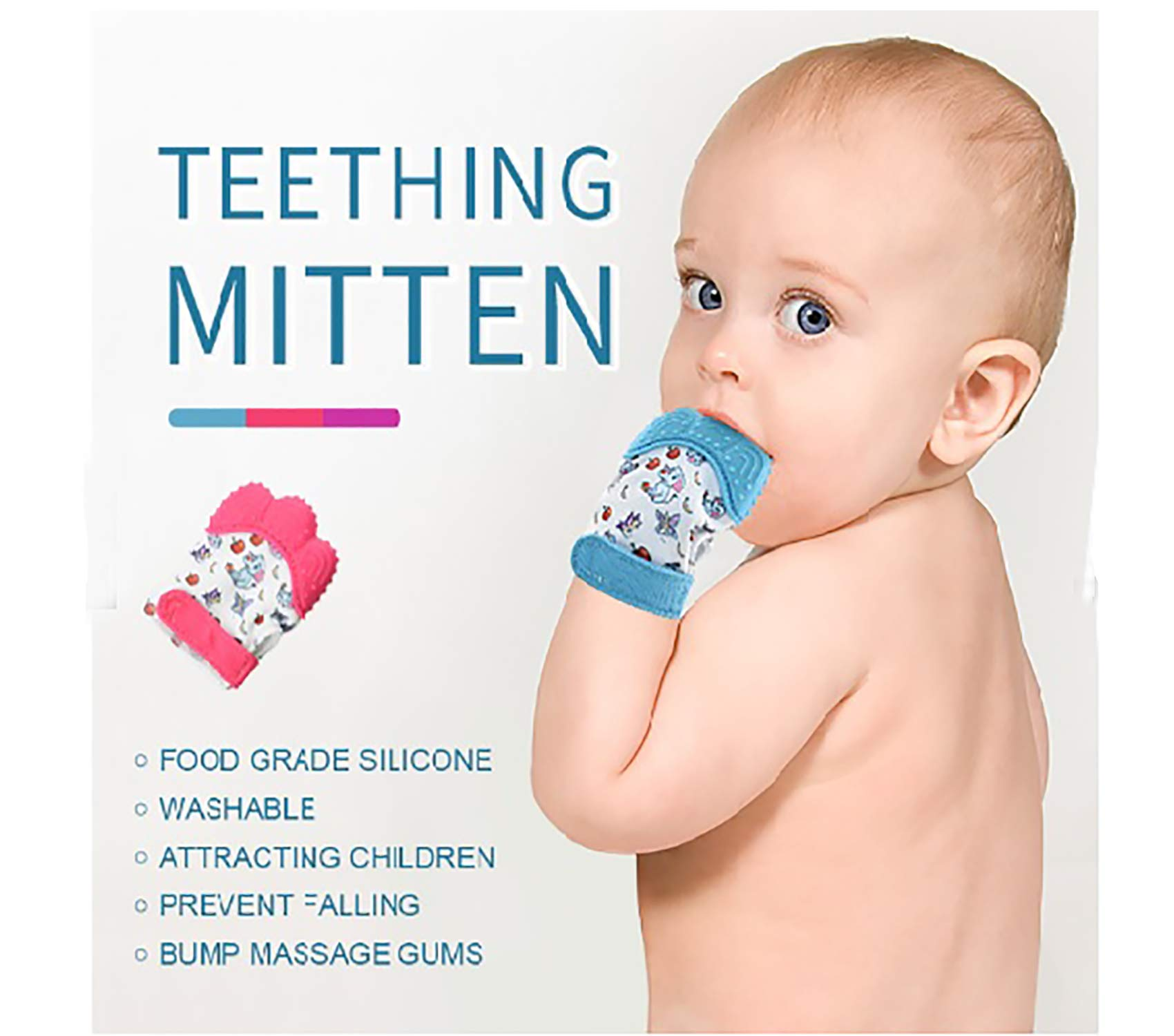 O'zone Baby Teething Mittens - Teething Mitten Provides Soothing Pain Relief Babies, Infants Toddler - Safe BPA-Free Baby Teething - Effective Anti-Scratch 3 to 12 Month Old Baby (Blue) by O'zone (Image #1)