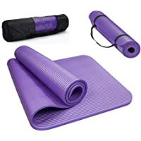 0.4-Inch Extra Thick 72-Inch Long High Density NBR Exercise Yoga Mat for Pilates, Fitness & Workout Carrying Strap